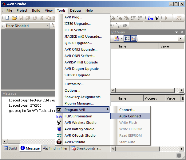 AVR Studio 4, Схема подключения радиомодуля TB387 к ATmega16