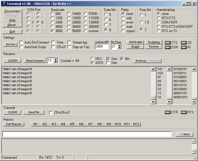 Terminal UART, Схема подключения радиомодуля HC-11 к ATmega16