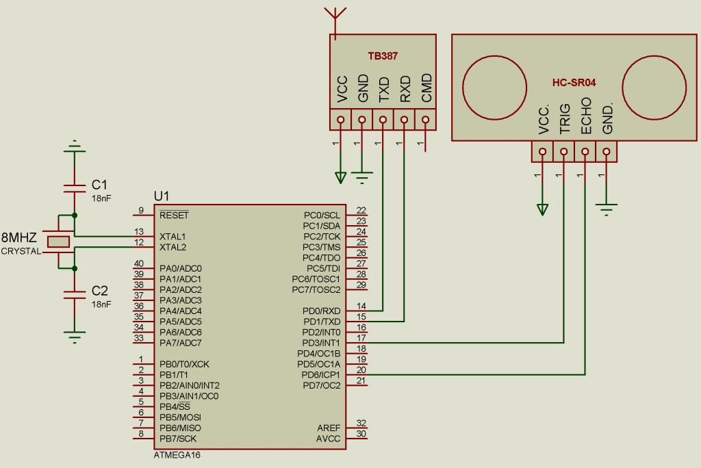 Схема подключения датчика движения HC-SR04 к ATmega16