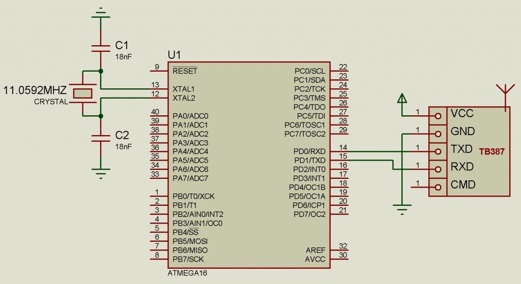 TB387+ATmega16/ATmega32 Подключение радио модуля (TB387)