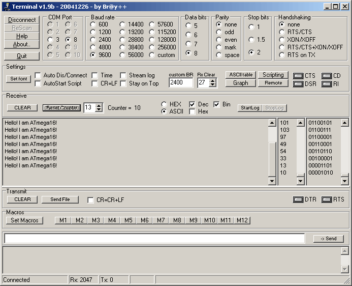 Terminal, Схема подключения радиомодуля TB387 к ATmega16