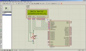 Схема подключения HD44780 к ATmega16 - LM016L LCD 16x2 (1)