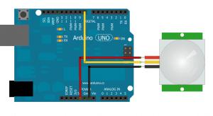 Схема подключения датчика движения (присутствия) HC-SR501 к ATmega16 (5)
