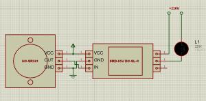 Схема подключения датчика движения (присутствия) HC-SR501 к SRD-05V DC-SL-C (SRD-05VDC-SL-C)