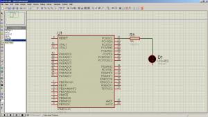 Схема подключения. ISIS Professional (Proteus 7) - Мигание светодиодом на ATmega16 (LED Blinking) — MicroPi (4)
