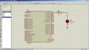 Схема подключения. ISIS Professional (Proteus 7) - Мигание светодиодом на ATmega16 (LED Blinking) — MicroPi (6)