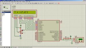 Подключение одного DS18B20 к ATmega8 (1x1 Animating)
