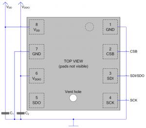 Схема подключения BME280 по SPI (3 линии связи)