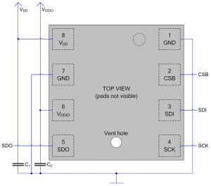 Схема подключения BME280 по SPI (4 линии связи)