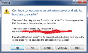 Подключение по SFTP с помощью WinSCP - Сохраняем ключ (Warning)
