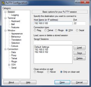 Подключение по SSH с помощью PuTTY - PuTTY