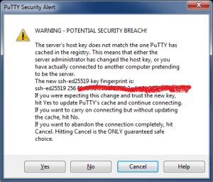 Подключение по SSH с помощью PuTTY - Putty Security Alert