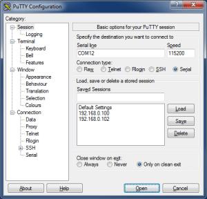 Подключение по UART с помощью PuTTY (TTL последовательный порт) - PuTTY