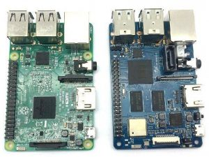 Banana Pi M2 Berry (BPI-M2 Berry) VS Raspberry Pi 3 model B (сравнение сверху)