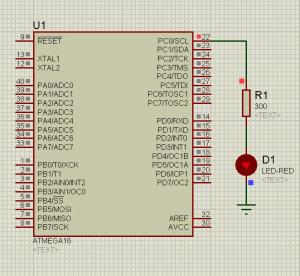 Схема подключения. ISIS Professional (Proteus 7) - Мигание светодиодом на ATmega16 (LED Blinking) — MicroPi (7)