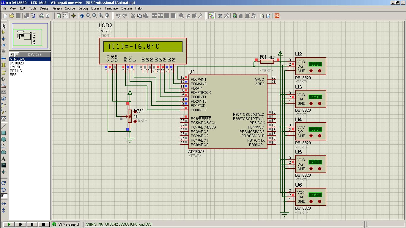 Подключение DS18B20 к ATmega8 и вывод на LCD HD44780-MicroPi