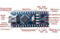 Описание элементов платы Arduino Nano V3.0