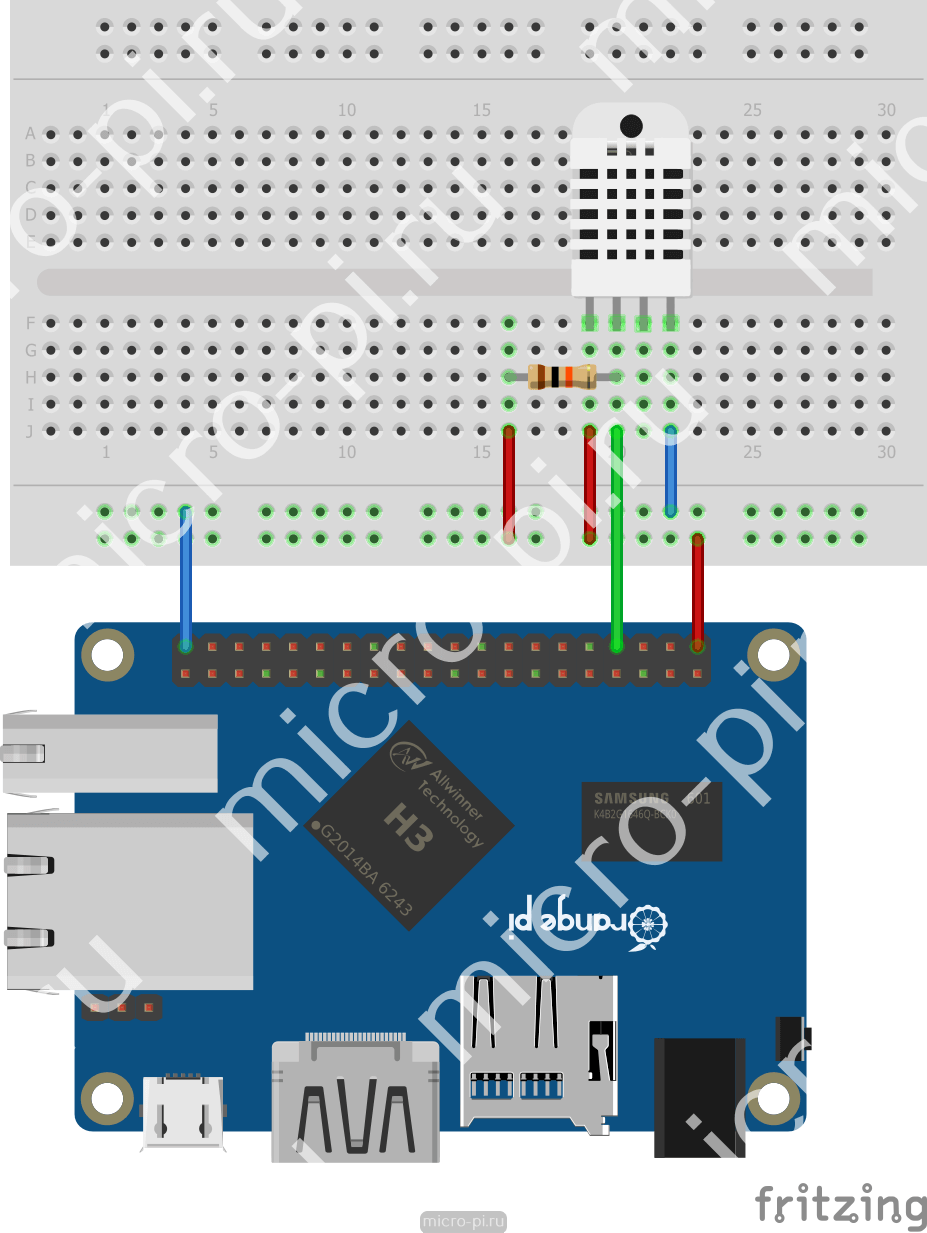 Raspberry Pi Pi4j 8 Dht11 Dht22 Micropi Wiringpi Pin Input Orange One