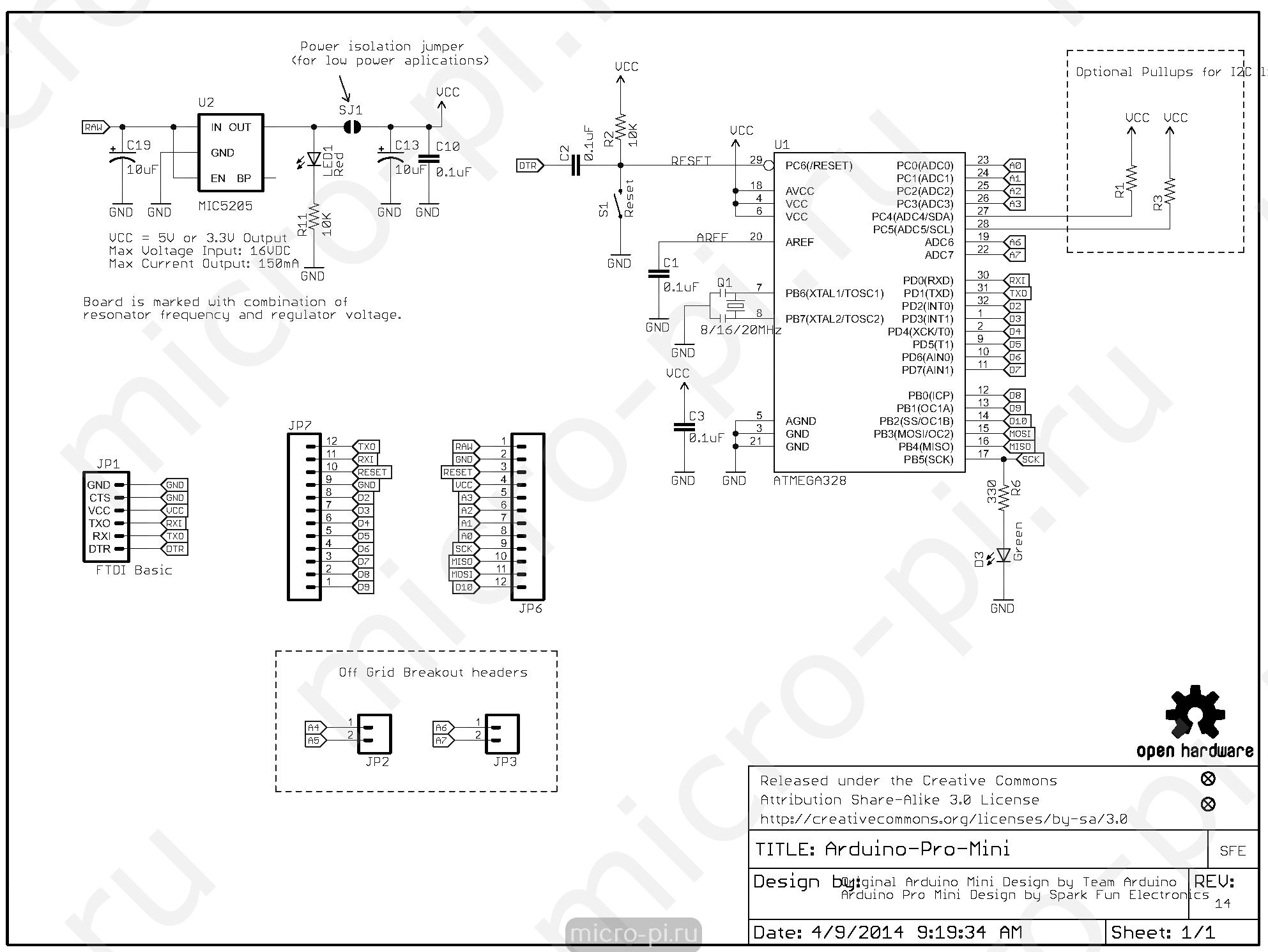 Arduino Pro Mini - Описание, распиновка платы - MicroPi