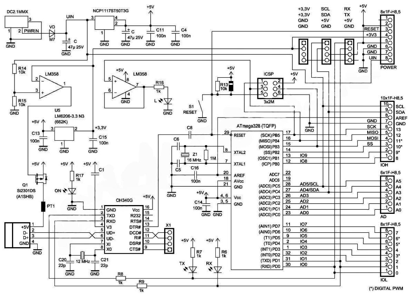 Arduino Uno Rev3/R3 - описание платы, драйвера - MicroPi