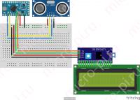Схема подключения I2C PCF8574 LCD1602 и HC-SR04 к Arduino
