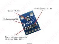Цифровой датчик освещенности TSL2561 - Технические характеристики GY-2561
