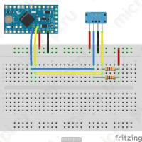 Схема подключения LCD1602 и DHT12 к Arduino Pro Mini