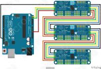 Каскад из 3-х PCA9685 подключённых к Arduino