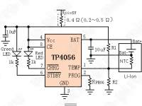 Принципиальная схема модуля на TP4056 (Модуль зарядки)