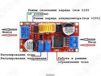 XL4015 - понижающий DC-DC преобразователь напряжения - Назначение светодиодных индикаторов и переменных резисторов