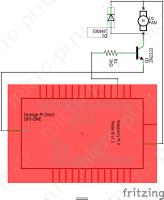 Схема подключения вентилятора - Принципиальная схема (Orange Pi One + 2N2222 + 1N4001)