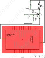 ШИМ управление - Принципиальная схема (Orange Pi One + ZVN4306A + 1N4001)