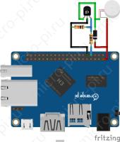 ШИМ управление - Схема подключения вентилятора (Orange Pi One + ZVN4306A + 1N4001)