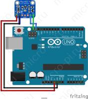 Схема подключения датчика освещенности TSL2561 к Arduino по I2C