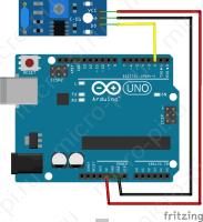 Схема подключения датчика вибрации на базе SW-420 к Arduino