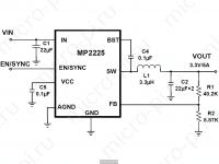 Схема включения MP2225 (IAFRJ-AFRJ) DC-DC модуля